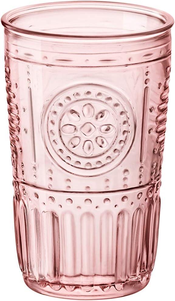 Bormioli Rocco Romantic Cooler Glass, Set of 4, 16 oz, Cotton Candy