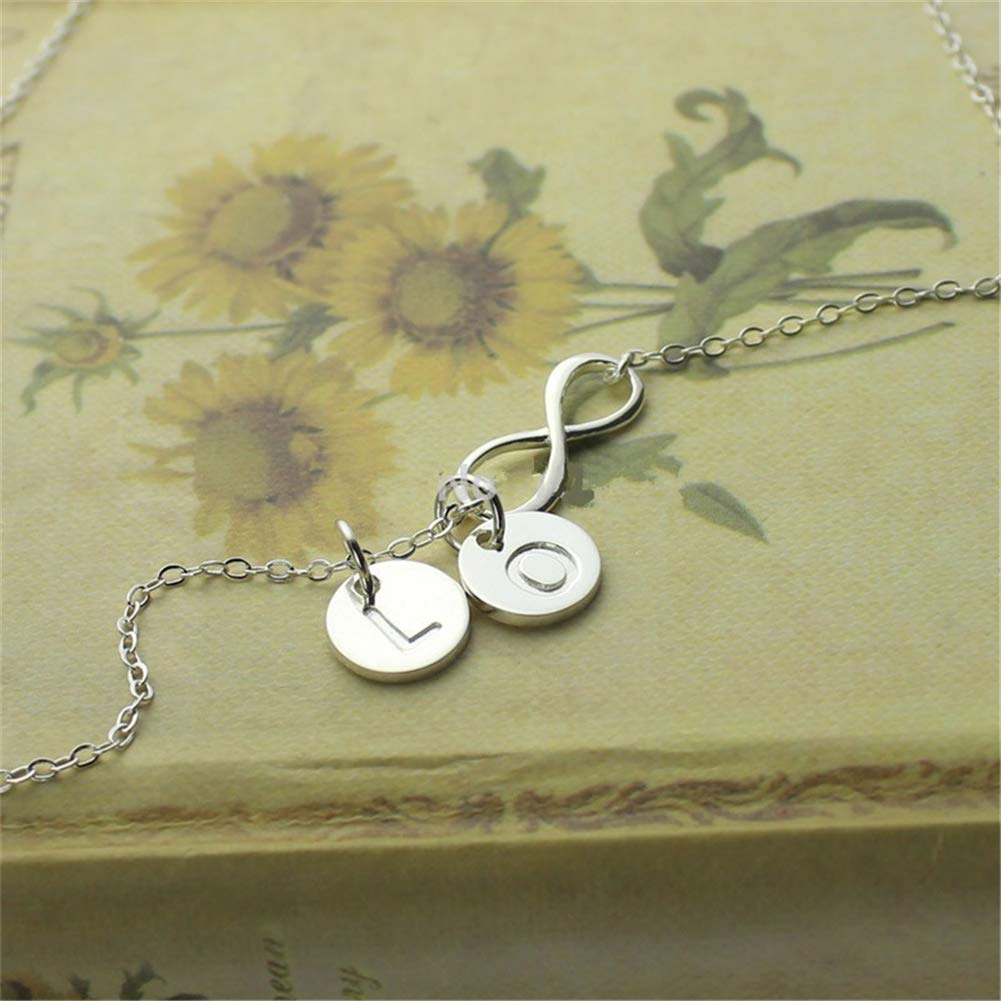 SADNESS N Initial Alphabet Pendant Necklace 925 Silver Gift for Mother