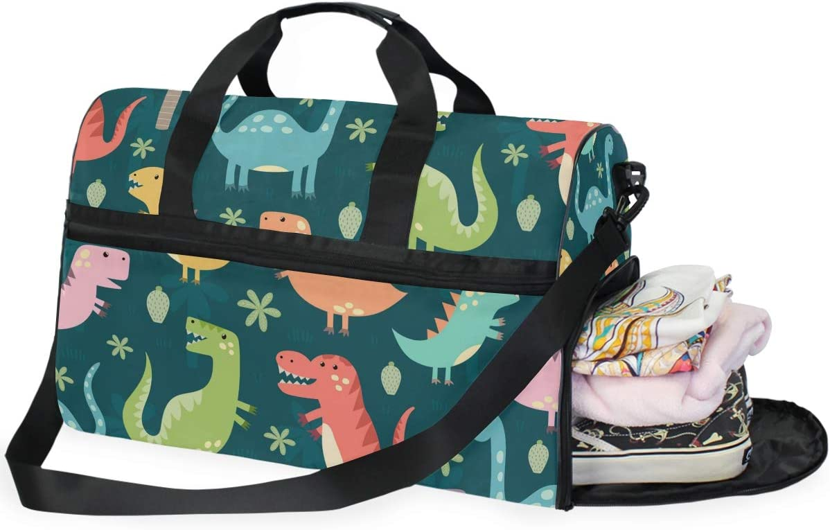 Funny Dinosaurs Sports Gym Bag with Shoes Compartment Travel Duffel Bag for Men and Women
