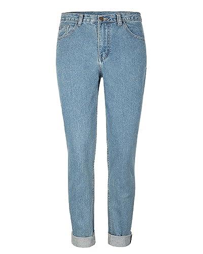 SaiDeng Mujeres Cintura Alta Suelto Pantalones Casual Elasticidad