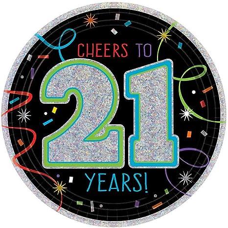 Amazon.com: Brilliant XXI Cumpleaños Papel Platos De Postre ...