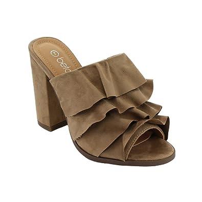 755f590828 Betani FK51 Women s Peep Toe Ruffles Slip On Block Heel Mule Sandals Beige