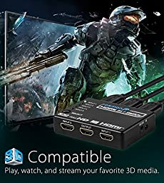 Fosmon HD8062 - Intelligent 5-Port HDMI Switch, Supports 4K, Full HD1080p, 3D with IR Remote and AC Adapter