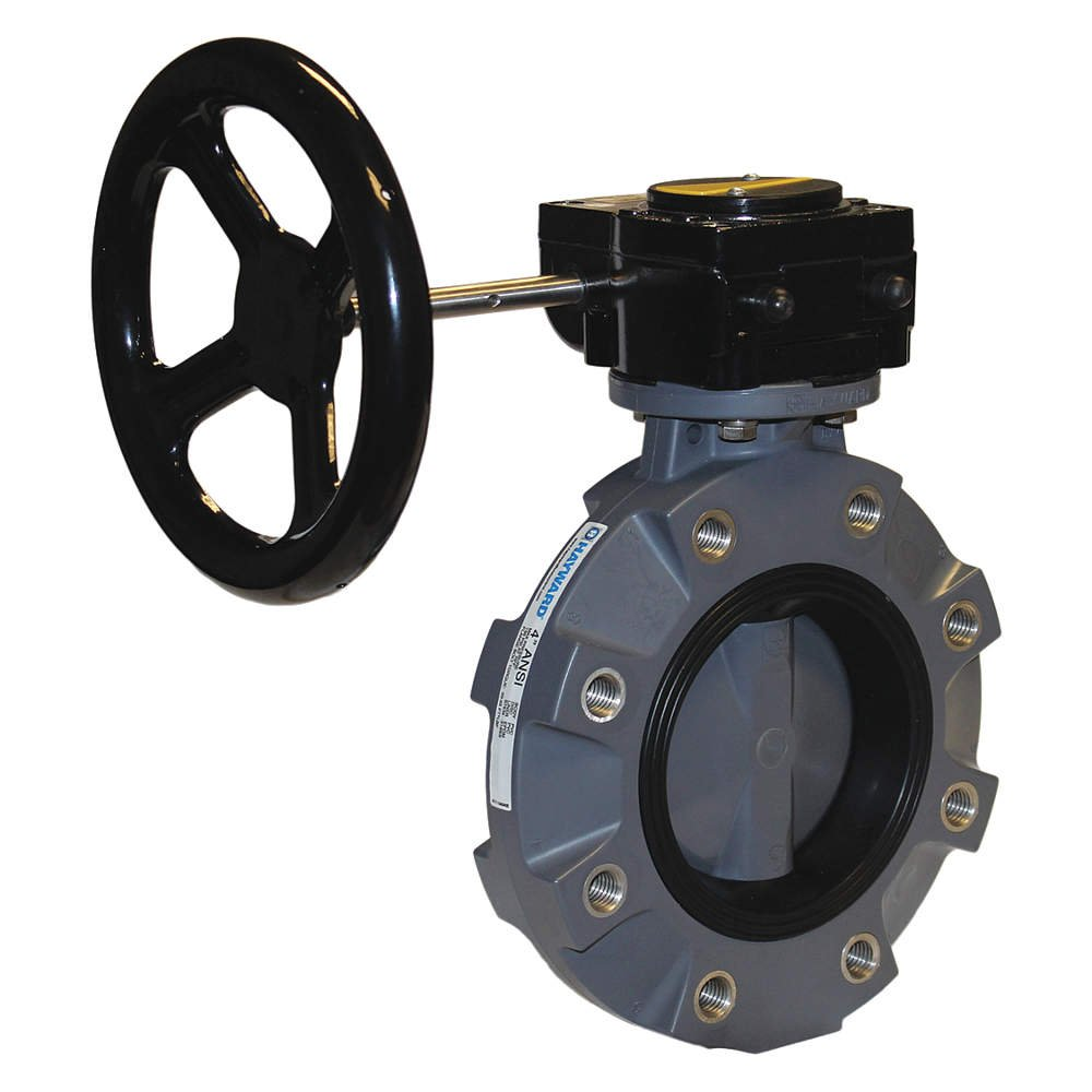CPVC Body Lugged CPVC Disc Gear Operated EPDM Seals 2 Size Hayward BYV22020A0EGI00 Series BYV Butterfly Valve