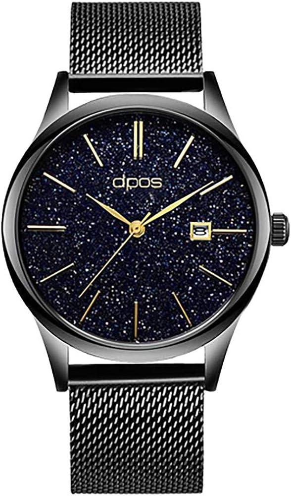 Men s Watch Thin Women Quartz Waterproof Wrist Watch Date Calendar Dial Stainless Steel Mesh Band