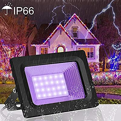 SAYHON UV LED Black Light Flood Light Bulb, 80W Ultra Violet UV LED Flood Light IP66 Waterproof Stage Light for Blacklight Party, Neon Glow, Glow in The Dark, DJ Disco Club, Fishing, Aquarium, Curing