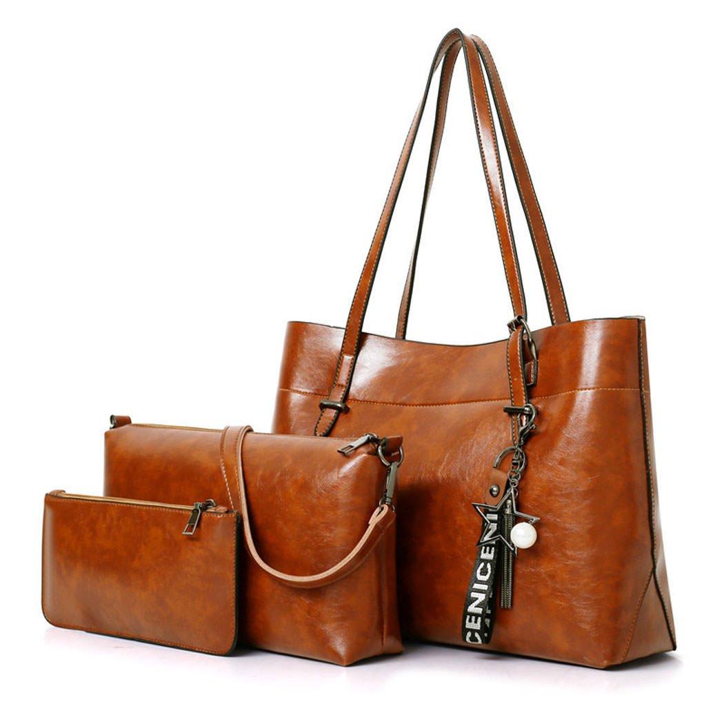 DEERWORDレディースバッグトートハンドバッグショルダーバッグ合成皮革ボウリングバッグ3ピースブラウン B07DW45FQR