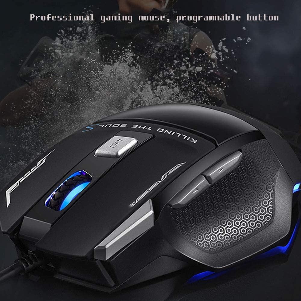 ZSLLO Wired USB Optical Mouse Ergonomics DPI Adjustable Programmable Button Line Length 160cm 7 Buttons Gaming Mice