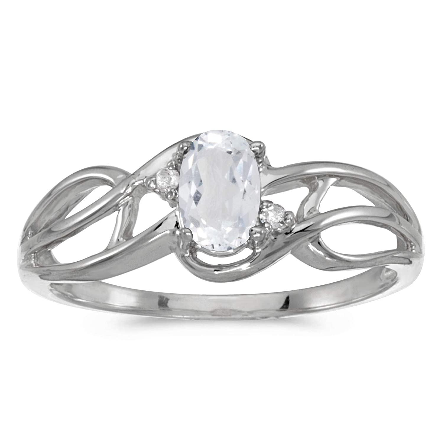 FB Jewels 10k White Gold Genuine Birthstone Solitaire Oval Gemstone And Diamond Curve Wedding Engagement Statement Ring