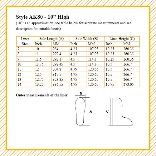 Varumärket Kände Ltd. Boot Liners Ak80-10 Tums Höjd