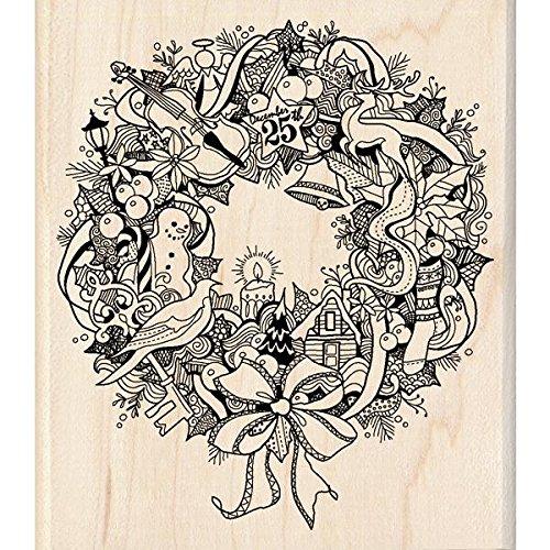 Wreath Doodle Inkadinkado 60-00933 Wood Stamp