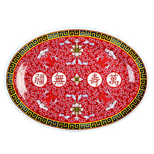 Thunder Group Peacock Collection 12-Pack Platter, 16 by 11-5/8-Inch, Melamine, Red ()