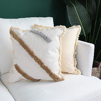 Amazon.com: Funda de cojín de algodón con borla tejida en ...