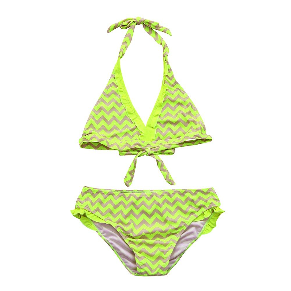 Amazon.com : Fimkaul Swimwear, 2PCS Baby Girls Lace Striped Ruched Bowknot Bikini Halter Sleeveless Bathing Suit : Sports & Outdoors