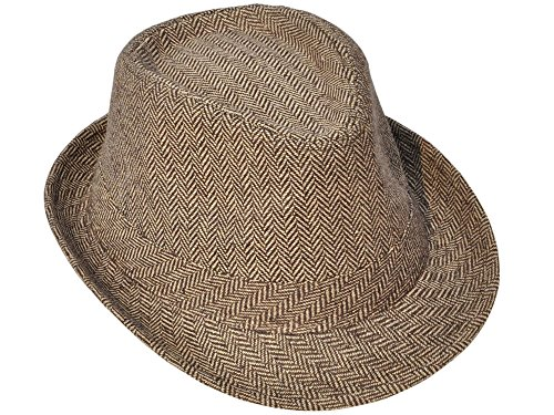 Simplicity Unisex Structured Gangster Trilby Wool Fedora Hat, 3071_Brown/Tan (1920s Gangster Fashion)