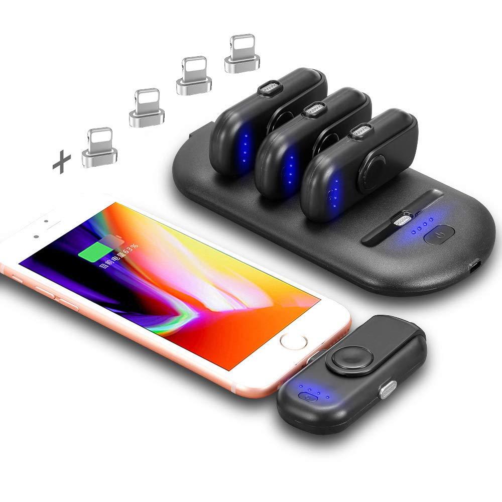 VILLSION Cargadores Portátiles Inalámbricos Cargador de Batería Externa Compatible con Todo iPhone, 5000mAh Batería Power Bank, 4PCS 1000mAh Fingerpow ...