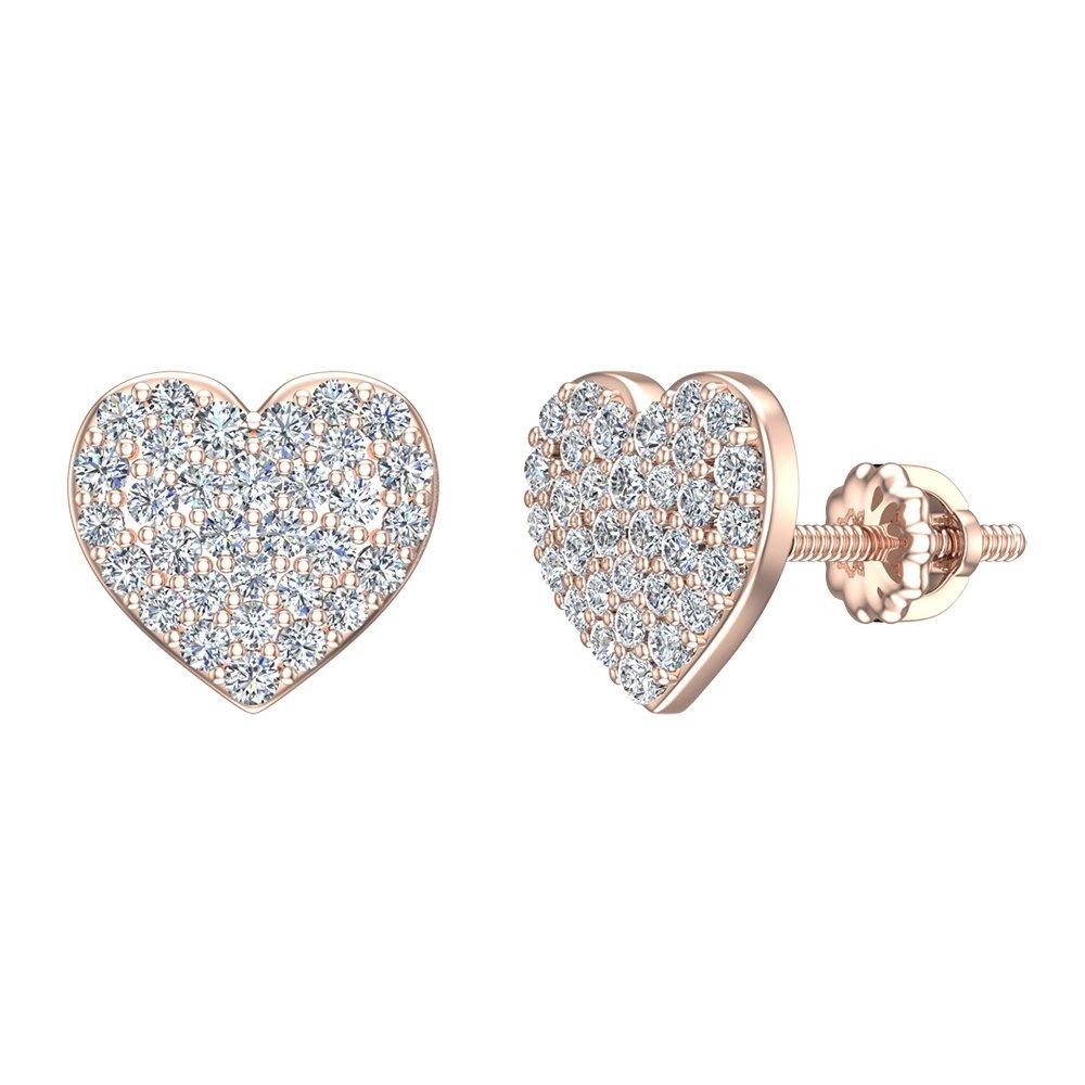 57569c3d9b95e Diamond Earrings Heart Shape Love Diamond Studs 14K Gold (1/2 ctw) (G,SI)