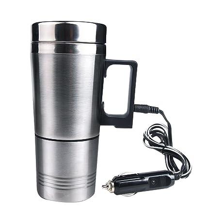 12 V coche eléctrico de acero inoxidable taza taza de café aplicables a la ebullición agua