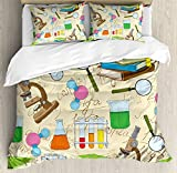 Ambesonne Kids Duvet Cover Set Queen Size by, Science Education Lab Sketch Books Equation Loupe Microscope Molecule Flask Print, Decorative 3 Piece Bedding Set with 2 Pillow Shams, Multicolor