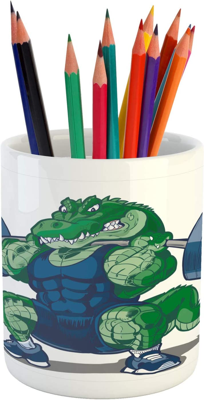 "Ambesonne Animal Pencil Pen Holder, Cartoon Crocodile Sporty Muscular Manly Alligator Villian Image Print, Ceramic Pencil Holder for Desk Office Accessory, 3.6"" X 3.2"", Jade Green"