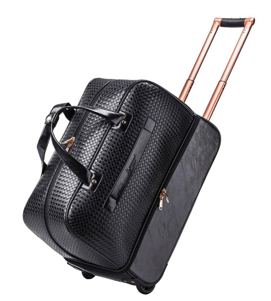 Femoooboro PU Leather Black Trolley Travel Duffle Bag Wheeled Bag - Small