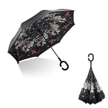 Paraguas Sunhoyu para hombre y mujer, paraguas en forma de C ...
