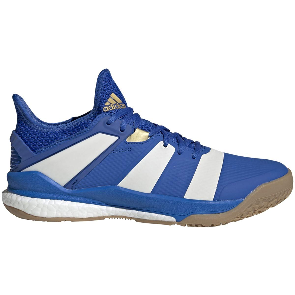 adidas Men's Stabil X Volleyball Shoe, Blue/Off White/Gold Metallic, 13 M US by adidas
