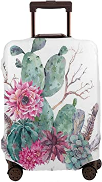 Elastic Travel Luggage Cover Watercolor Cactus Suitcase Protector for 18-20 Inch Luggage