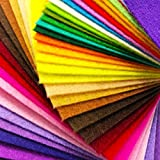 AiMay 50pcs Felt Fabric Pack Felt Squares Sheets for DIY Craft Assorted Colors 1mm Thickness (30cm x 30cm)
