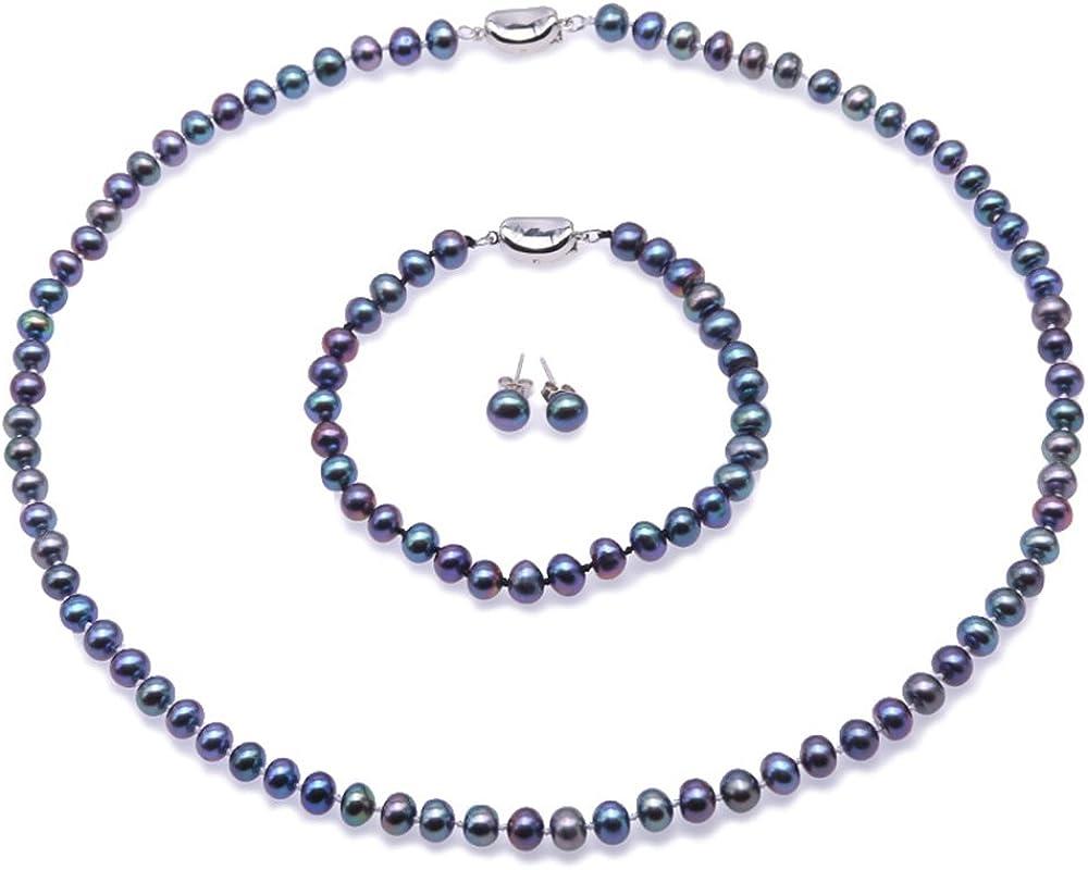 JYX Conjunto de Joyas de Perlas para Mujer 6-7mm AA Champagne Collar de Perlas de Agua Dulce Redondo, Pulsera y aretes de Plata 925 (púrpura, Dorado, Negro y Rosa)