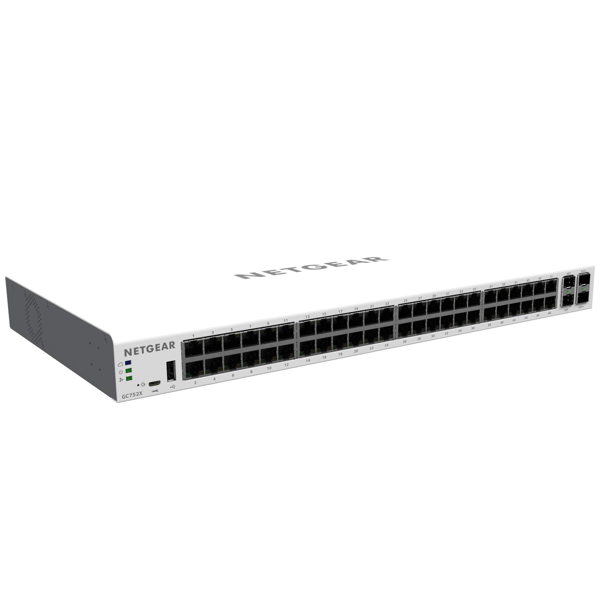 NETGEAR 52-Port Gigabit Ethernet Insight Managed Smart Cloud Switch (GC752X) - with 2 x 1G SFP and 2 x 10G SFP+, Desktop/Rackmount by NETGEAR