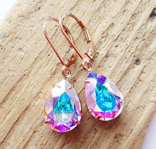 - Swarovski Aurora Borealis 14K Rose Gold Teardrop Earrings, AB Crystal Rhinestone Pear, Leverbacks