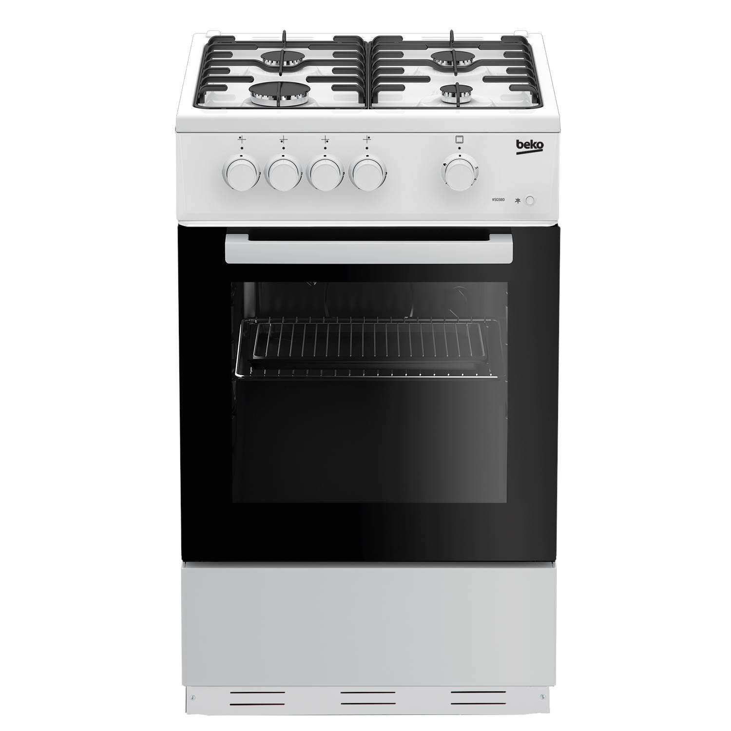 Beko KSG580W 50cm Single Cavity Gas Cooker in White 4 Hotplate Burners