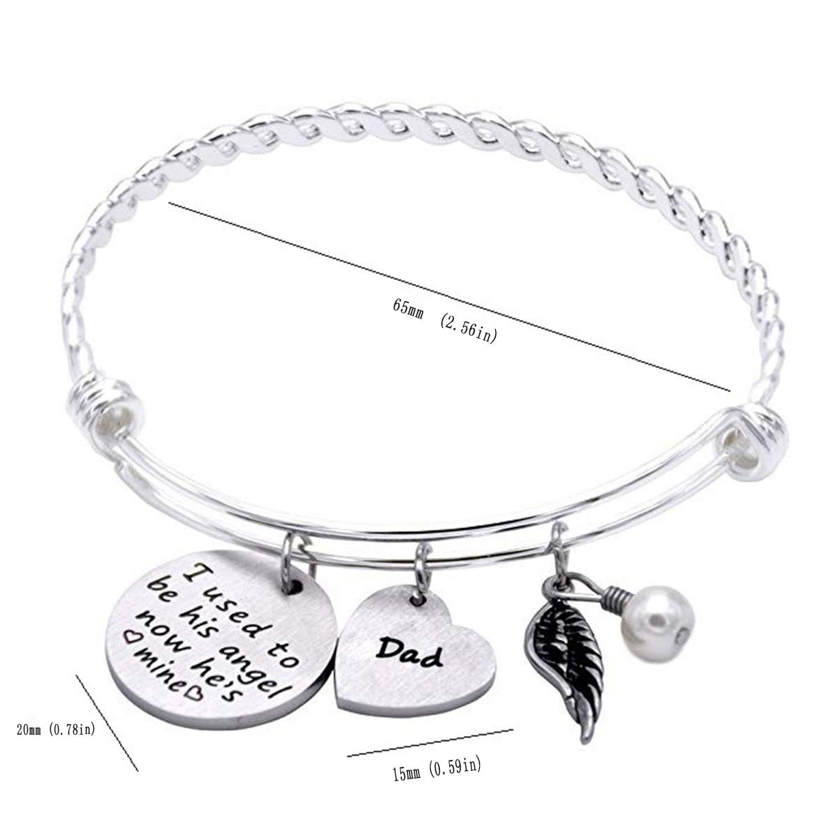 Peolewey Dad Memorial Bracelet I Used to Be His Angel Now Hes Mine Bangle Jewelry