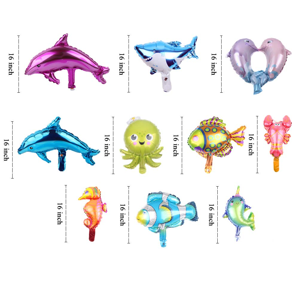 SOTOGO 22 Pieces Lagre/&Small Sea Animal Balloons Set Sea Creatures Tropical Fish Balloons for Kid Birthday Party Decorations
