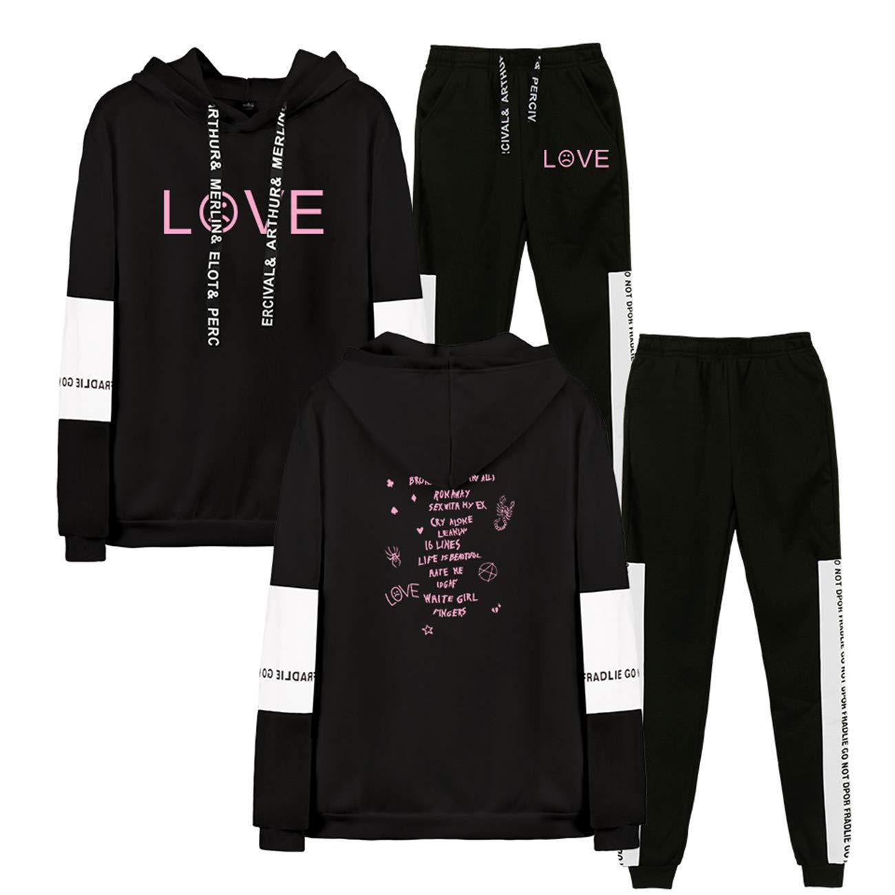 R.I.P Lil Peep Rapper Hip Hop Sports Suit Tracksuit Unisex Hoodies Trousers Set Harajuku Casual Hip Hop Men//Women Print Clothes