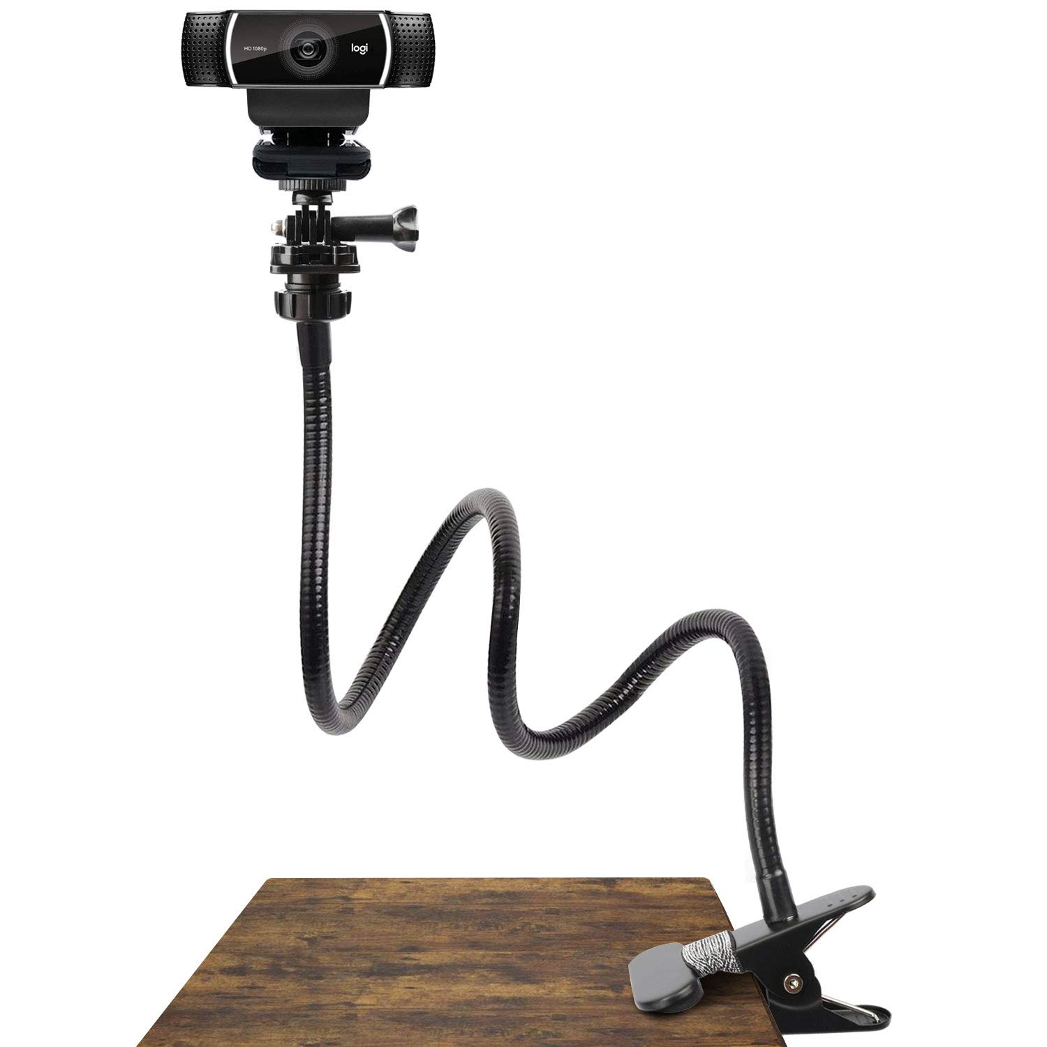 25 Inch Webcam Stand - Flexible Desk Mount Clamp Gooseneck Stand for Logitech Webcam C930e,C930,C920, C922x,C922, Brio 4K, C925e,C615 by Pipishell by Pipishell