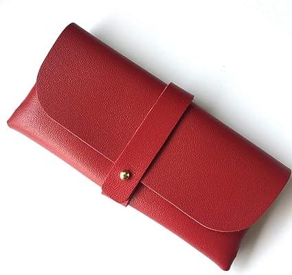 HQWLCIYD Estuche de lápices Estuche para lentes Bolsa de cuero de la pu Accesorios para gafas Negro Marrón Rojo Bolsa de botones portátil Funda de gafas de sol blandas Mujer, Rojo: Amazon.es: