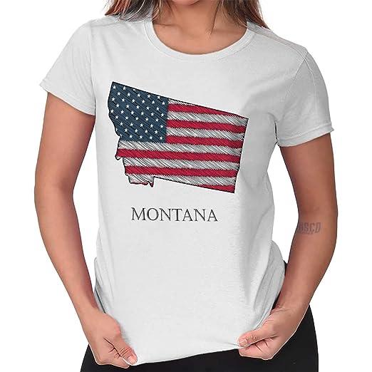 de9d9ca6eeb Brisco Brands Womens Graphic T Shirt Montana State Pride American Flag USA  Patriotic White