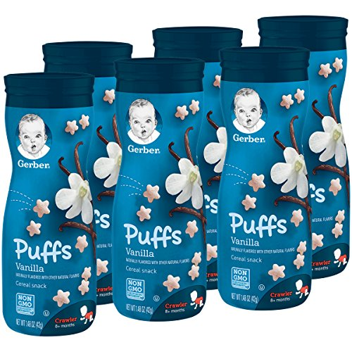 Gerber Graduates Puffs Cereal Snack, Vanilla, Naturally Flavored with Other Natural Flavors, 1.48 Ounce, (Pack of 6) (Vanilla Cereal)