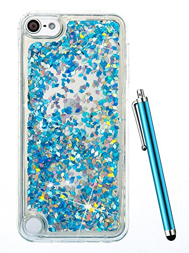 Sparkle Camo (iPod Touch 6th Generation Case,iPod Touch 6 Case Glitter,CAIYUNL Liquid Clear Bling Sparkle Quicksand Design Protective Cute Kids Girl Men Soft Slim TPU Cover Bumper for Apple iPod Touch 5+Stylus-Blue)