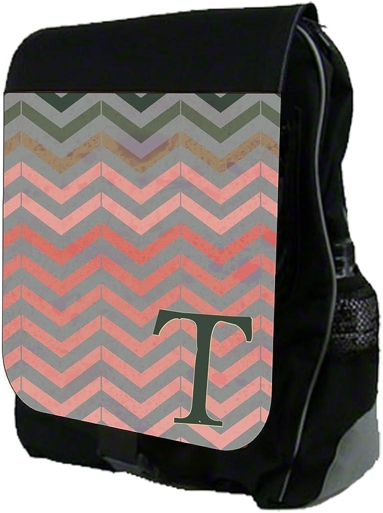 A-Z Customizable School BackpackGrunge Chevrons Print Design