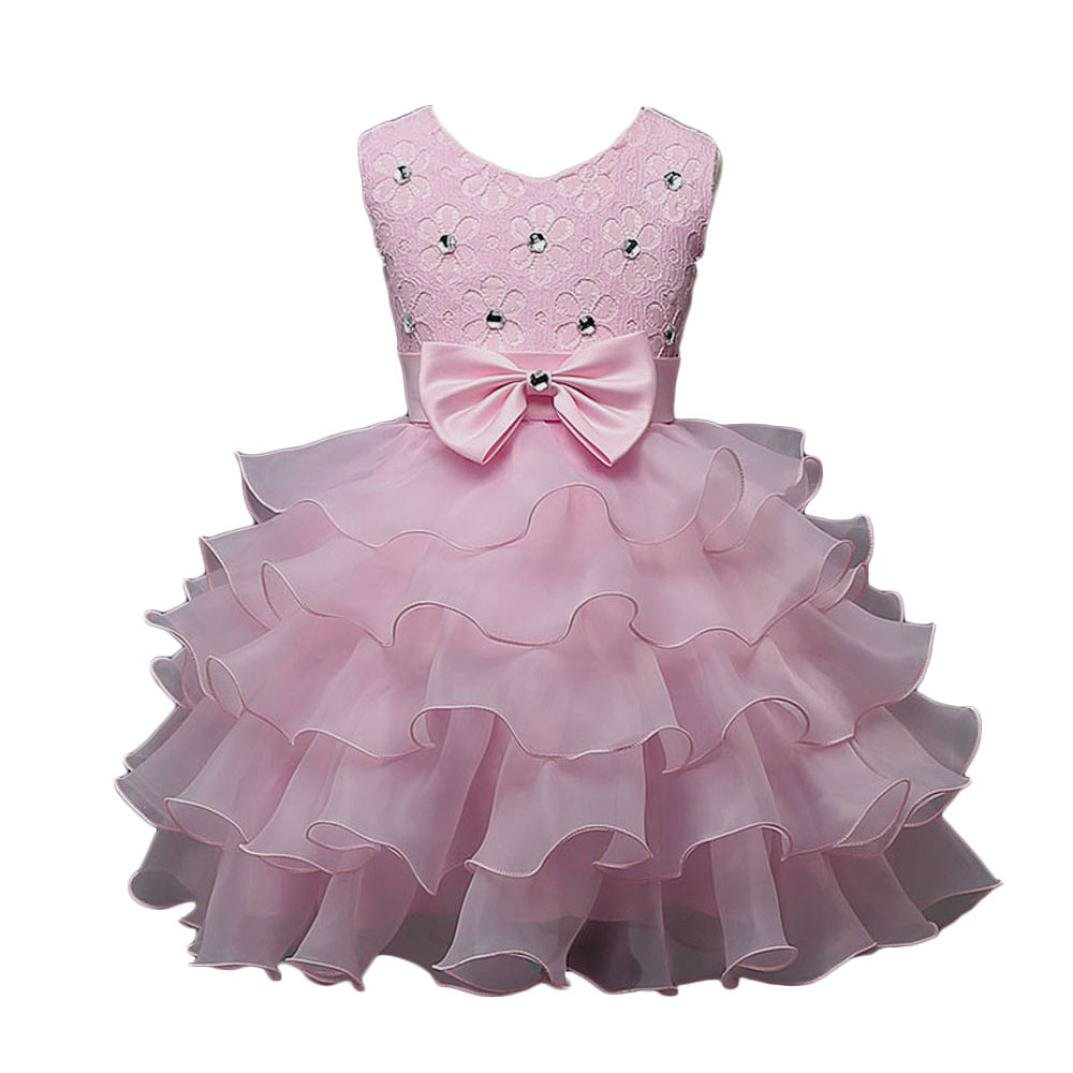 Yuxing Flower Girls Bowknot Bead Wedding Princess Pageant Birthday Party Dress (Pink, 6-7T)