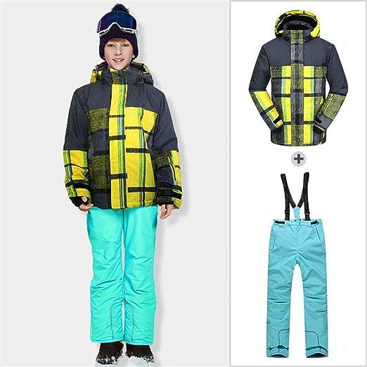 HXSKI Traje de esquí para niños, Baberos y Chaqueta de esquí ...