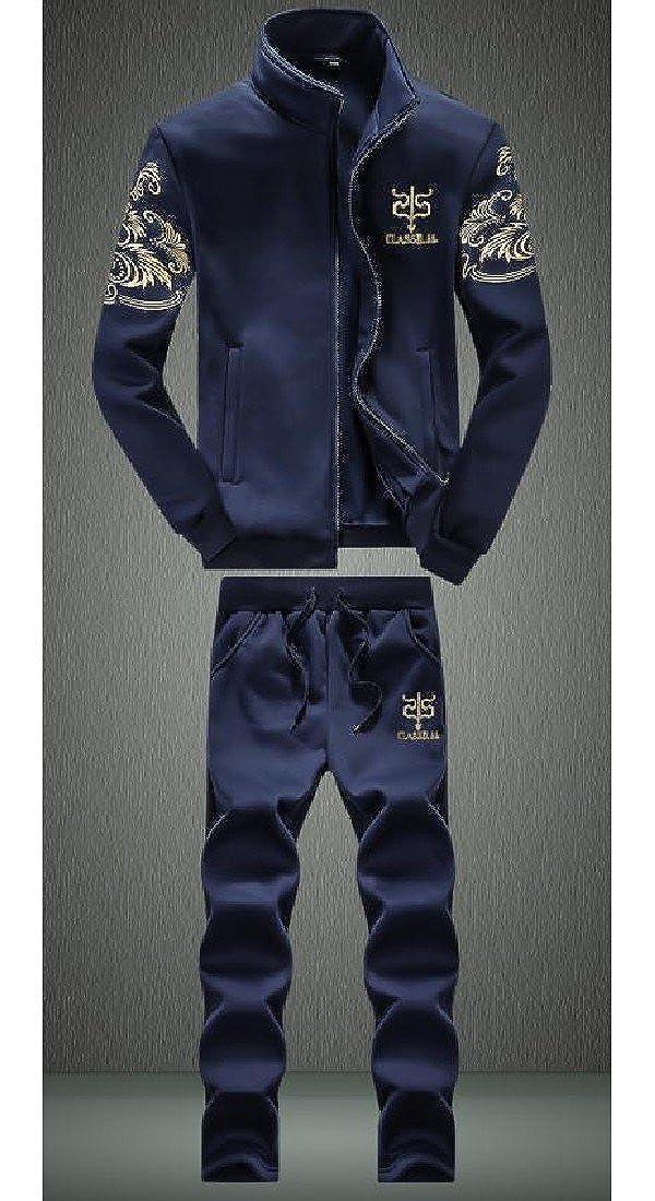 Comfy Men Fleece Lined Signature Casual Loose Texture Sweatsuit