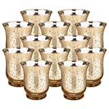 Just Artifacts Mercury Glass Hurricane Votive Candle Holder 3.5'' H (12pcs, Speckled Gold) - Mercury Glass Votive Tealight Candle Holders for Weddings, Parties and Home Décor