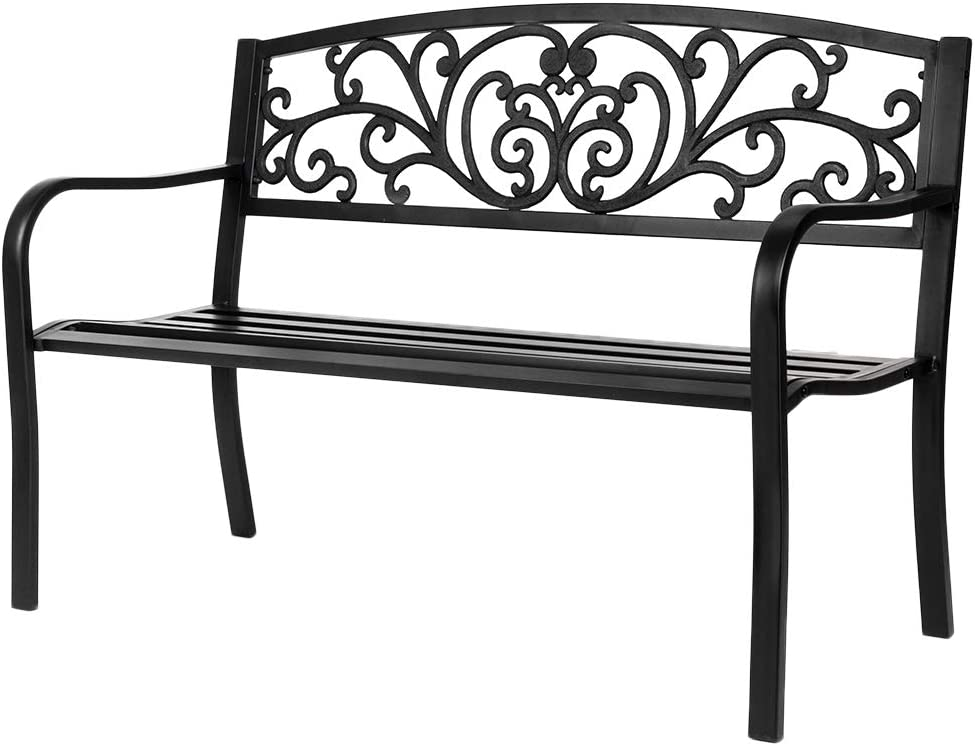 Amazon Com Vingli 50 Patio Park Garden Bench Outdoor Metal Benches Cast Iron Steel Frame Chair Front Porch Path Yard Lawn Decor Deck Furniture For 2 3 Person Seat Kitchen Dining