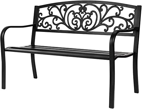 VINGLI 50 Patio Park Garden Bench Outdoor Metal Benches,Cast Iron Steel Frame Chair Front Porch Path Yard Lawn Decor Deck Furniture for 2-3 Person Seat