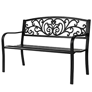 "VINGLI 50"" Patio Park Garden Bench Outdoor Metal Benches,Cast Iron Steel Frame Chair Front Porch Path Yard Lawn Decor Deck Furniture for 2-3 Person Seat"