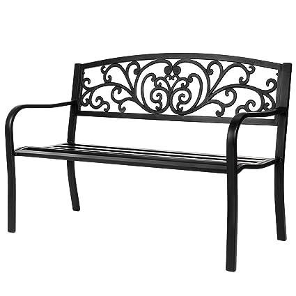 Fine Vingli 50 Patio Park Garden Bench Outdoor Metal Benches Cast Iron Steel Frame Chair Front Porch Path Yard Lawn Decor Deck Furniture For 2 3 Person Machost Co Dining Chair Design Ideas Machostcouk